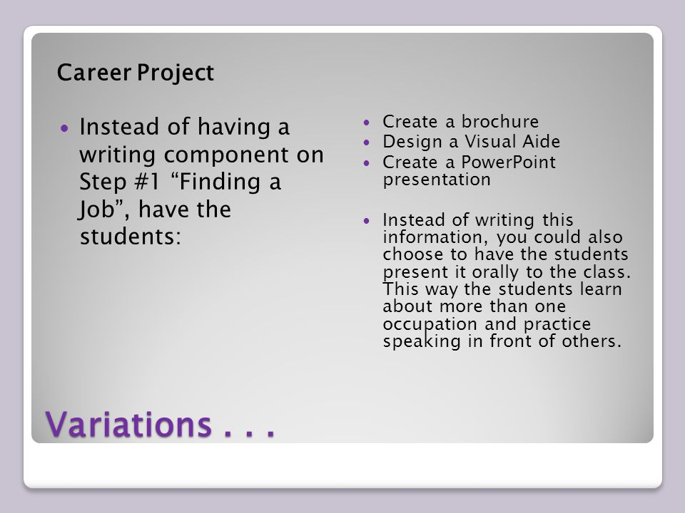 Variations... Career Project Instead of having a writing component on Step #1 Finding a Job, have the students: Create a brochure Design a Visual Aide
