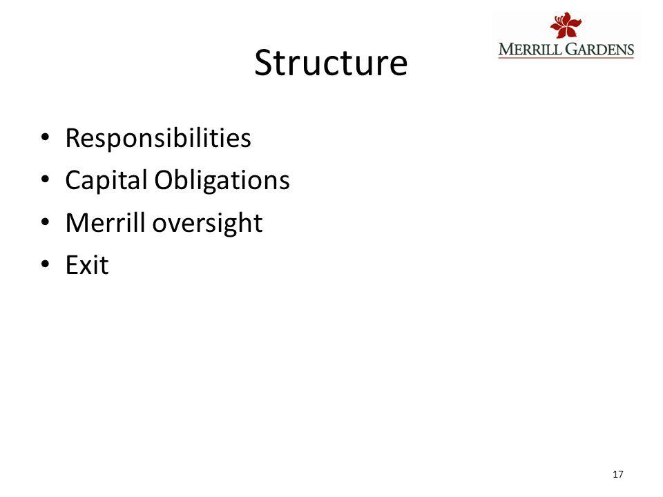 Structure Responsibilities Capital Obligations Merrill oversight Exit 17