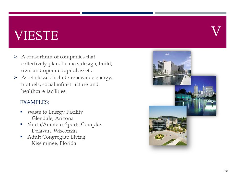 V IESTE A consortium of companies that collectively plan, finance, design, build, own and operate capital assets. Asset classes include renewable ener