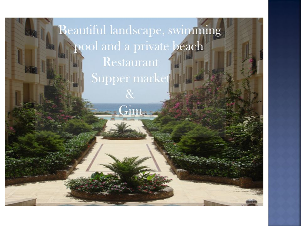 Beautiful landscape, swimming pool and a private beach Restaurant Supper market & Gim