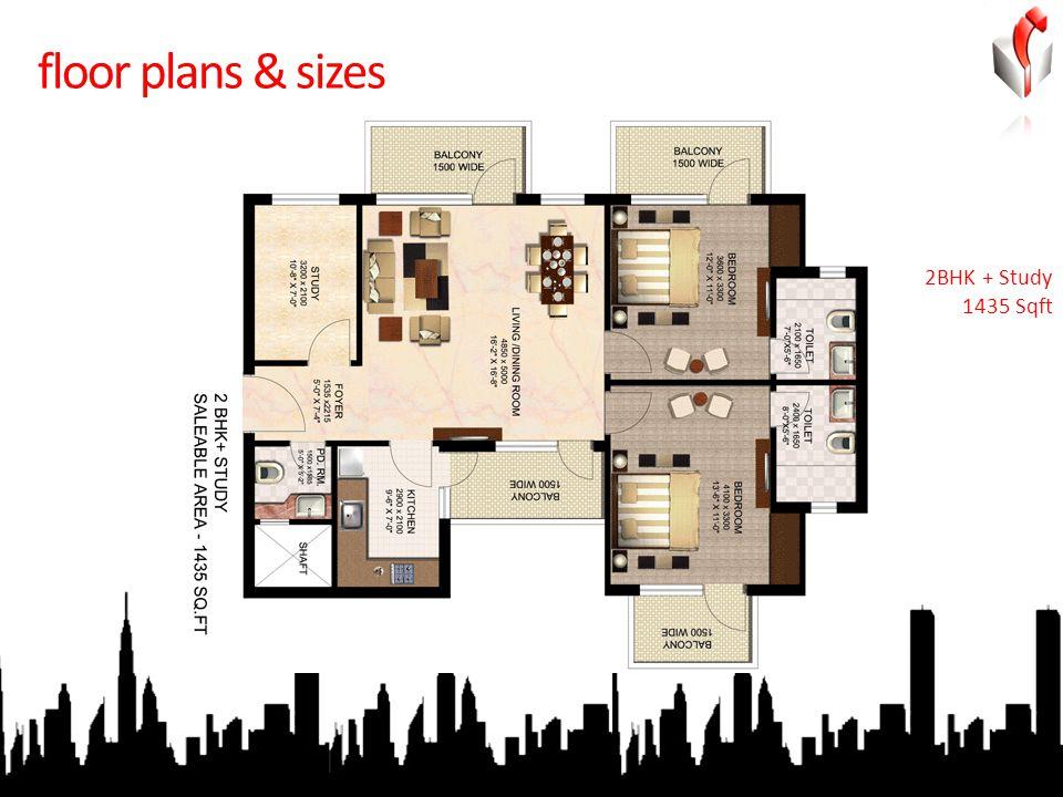 floor plans & sizes 2BHK + Study 1435 Sqft