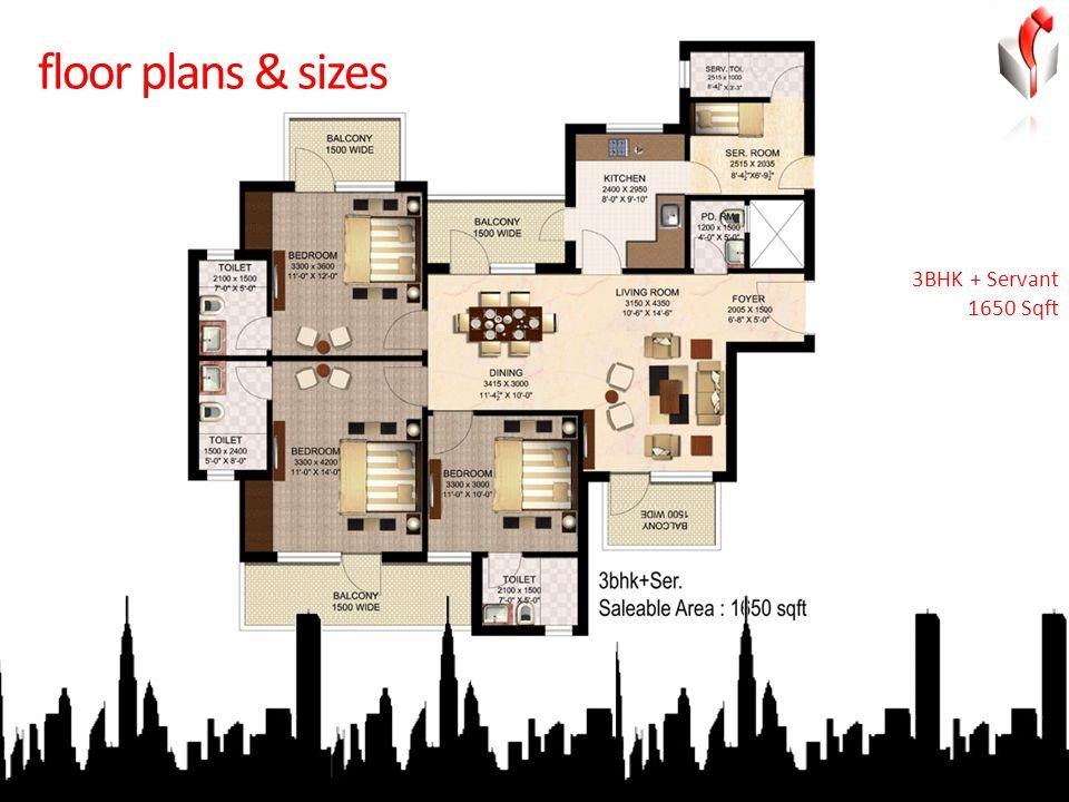 floor plans & sizes 3BHK + Servant 1650 Sqft