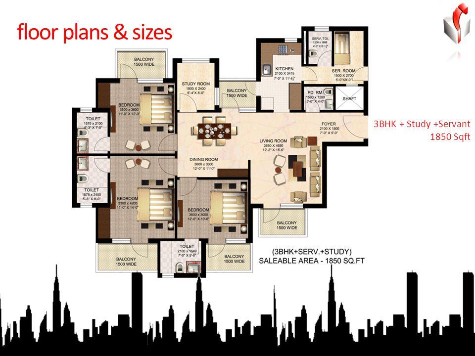 floor plans & sizes 3BHK + Study +Servant 1850 Sqft
