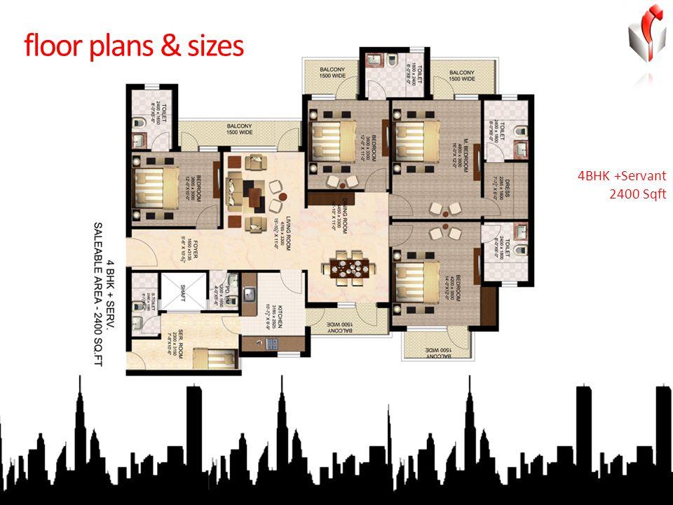 floor plans & sizes 4BHK +Servant 2400 Sqft