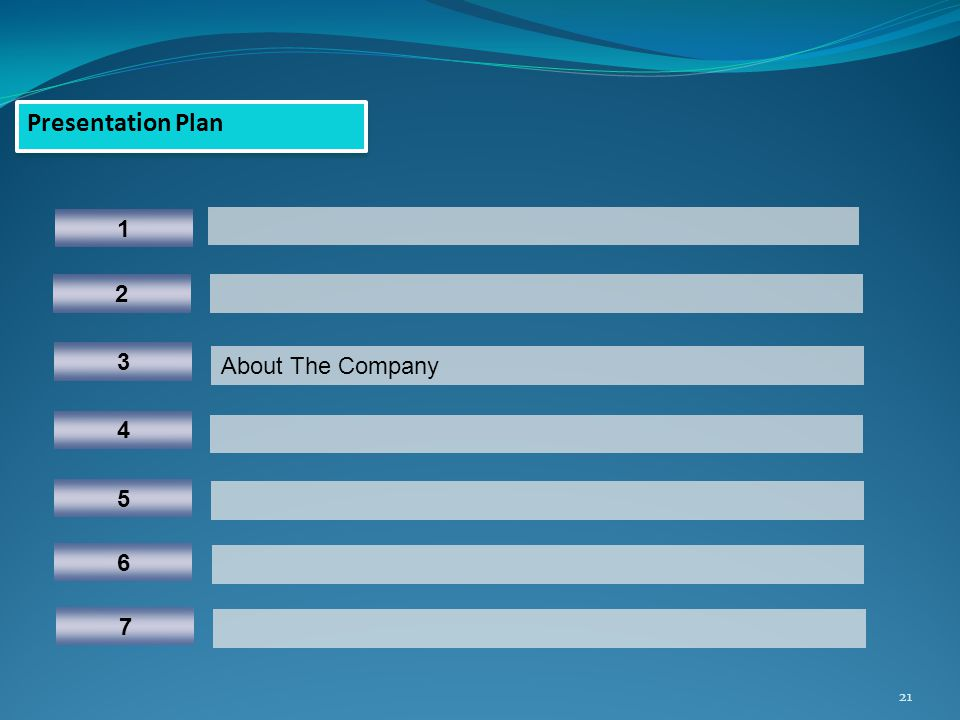 21 Presentation Plan 1 5 3 About The Company 4 2 6 7