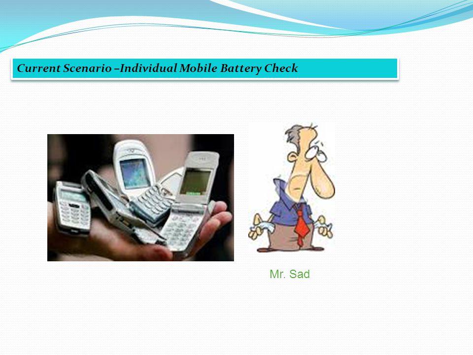 Current Scenario –Individual Mobile Battery Check Mr. Sad