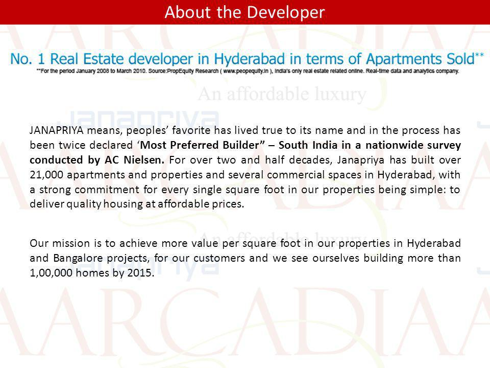 About the Developer JANAPRIYA means, peoples favorite has lived true to its name and in the process has been twice declared Most Preferred Builder – S
