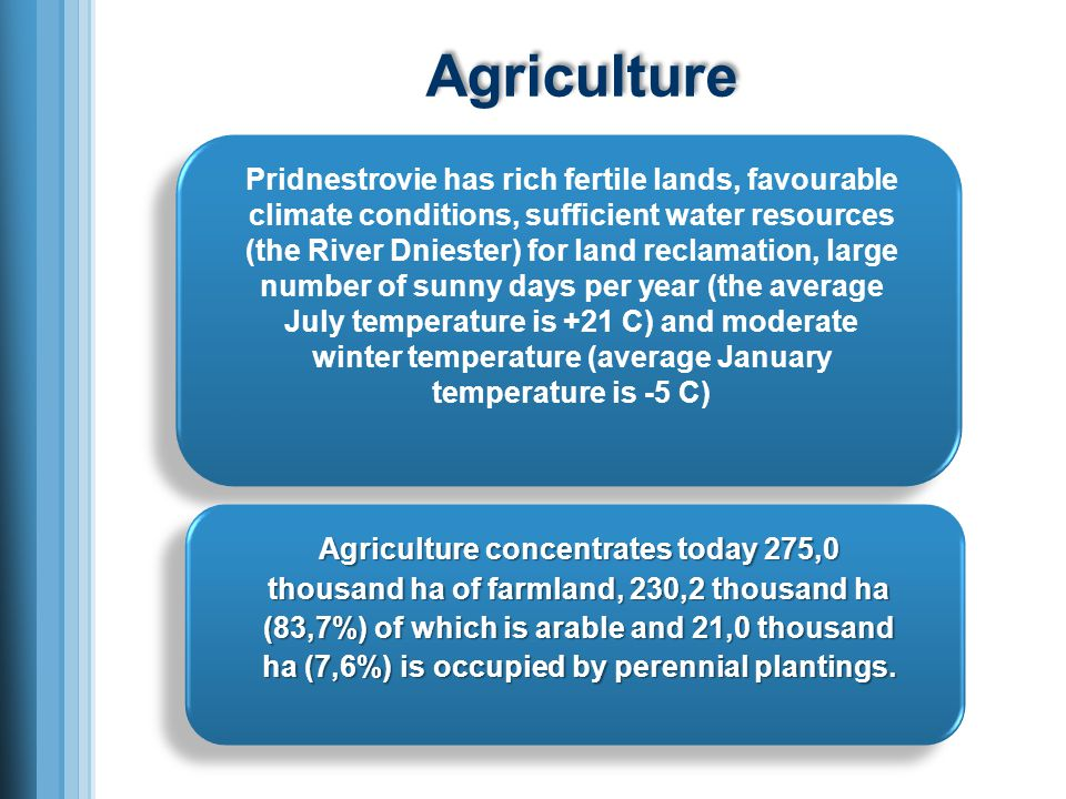 Agriculture Pridnestrovie has rich fertile lands, favourable climate conditions, sufficient water resources (the River Dniester) for land reclamation, large number of sunny days per year (the average July temperature is +21 C) and moderate winter temperature (average January temperature is -5 C) Agriculture concentrates today 275,0 thousand ha of farmland, 230,2 thousand ha (83,7%) of which is arable and 21,0 thousand ha (7,6%) is occupied by perennial plantings.