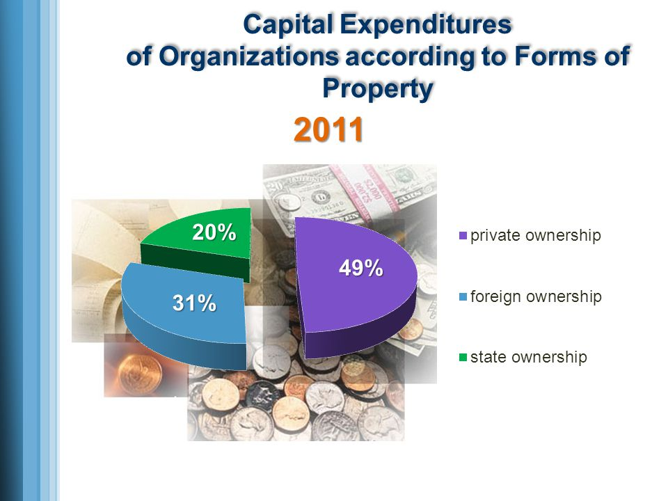 Capital Expenditures of Organizations according to Forms of Property