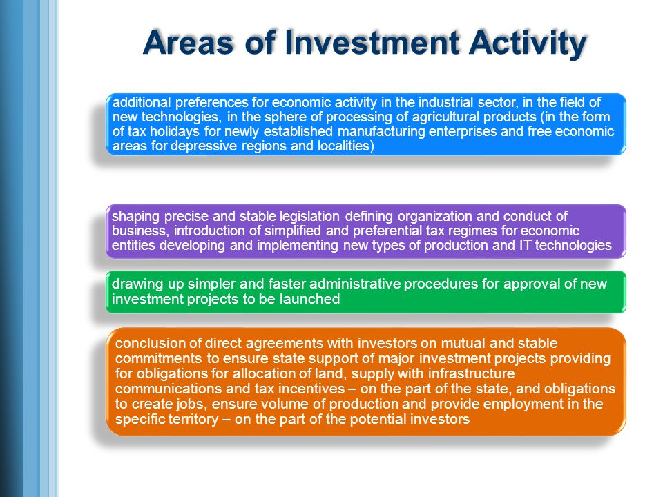 Areas of Investment Activity