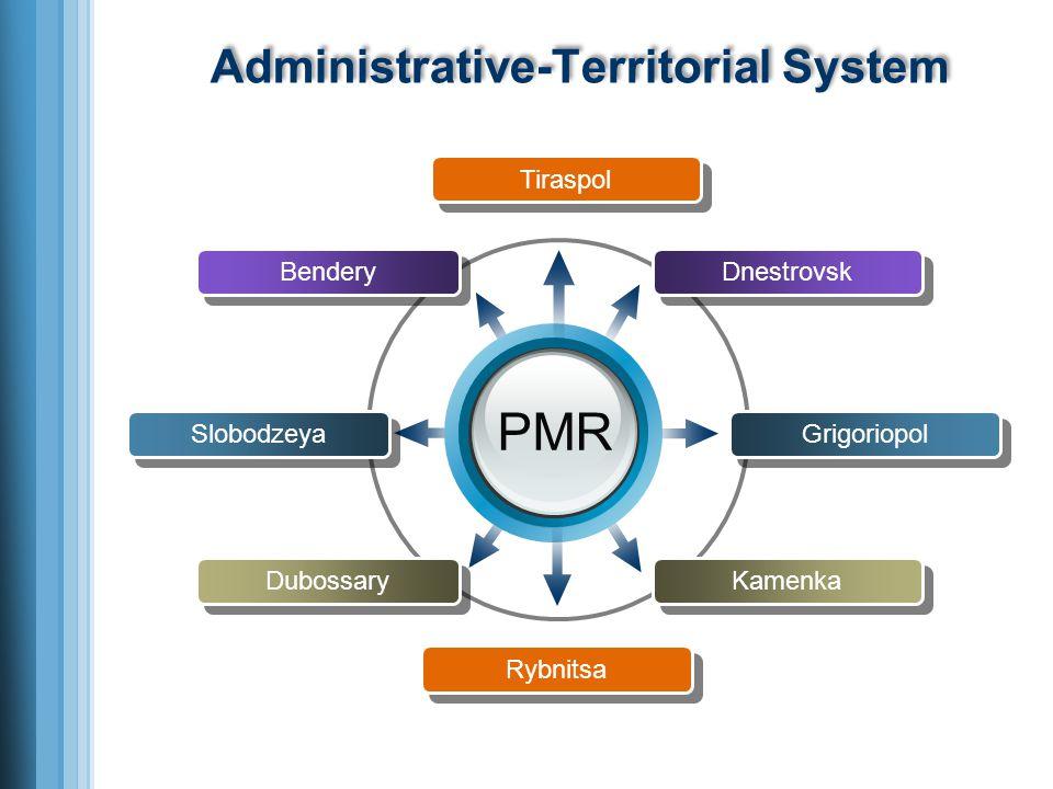 Administrative-Territorial System PMR Slobodzeya Bendery Dubossary Grigoriopol Dnestrovsk Kamenka Tiraspol Rybnitsa