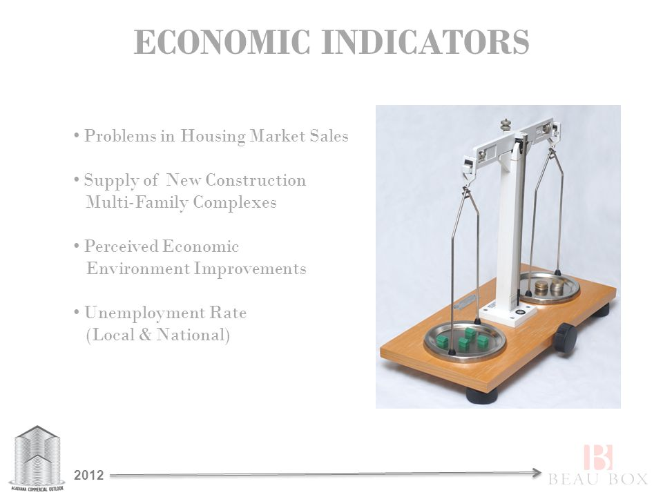 ECONOMIC INDICATORS Problems in Housing Market Sales Supply of New Construction Multi-Family Complexes Perceived Economic Environment Improvements Unemployment Rate (Local & National) 2012