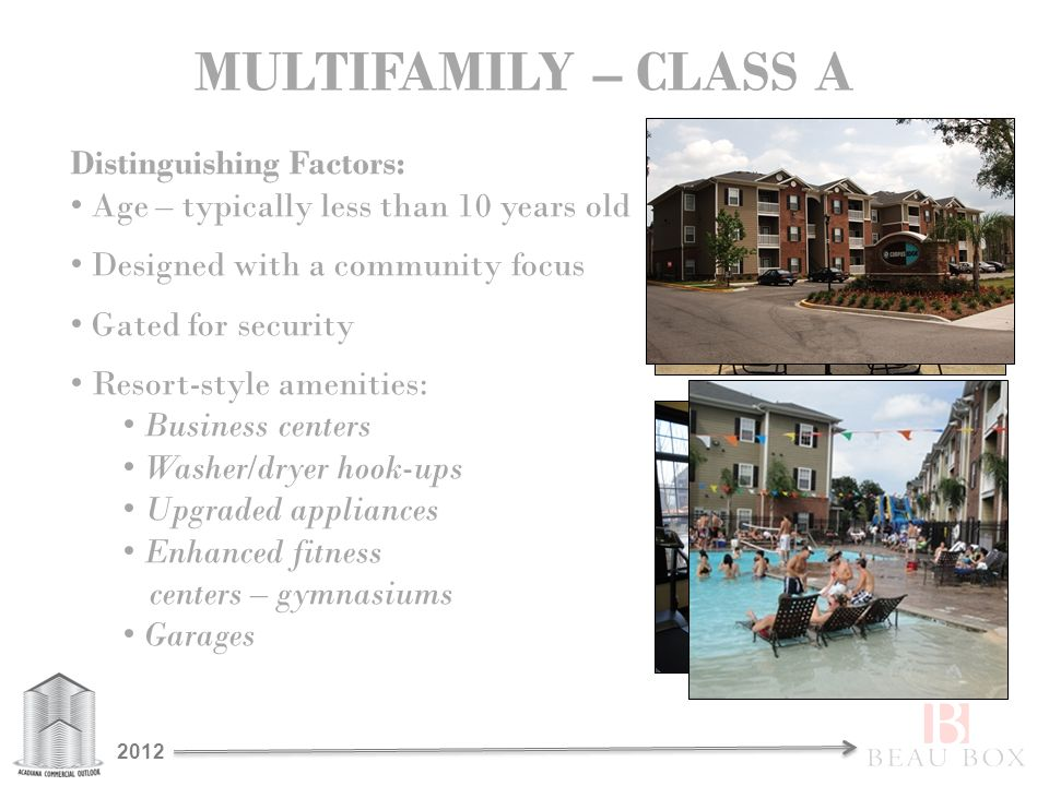 MULTIFAMILY – CLASS A Distinguishing Factors: Age – typically less than 10 years old Designed with a community focus Gated for security Resort-style amenities: Business centers Washer/dryer hook-ups Upgraded appliances Enhanced fitness centers – gymnasiums Garages