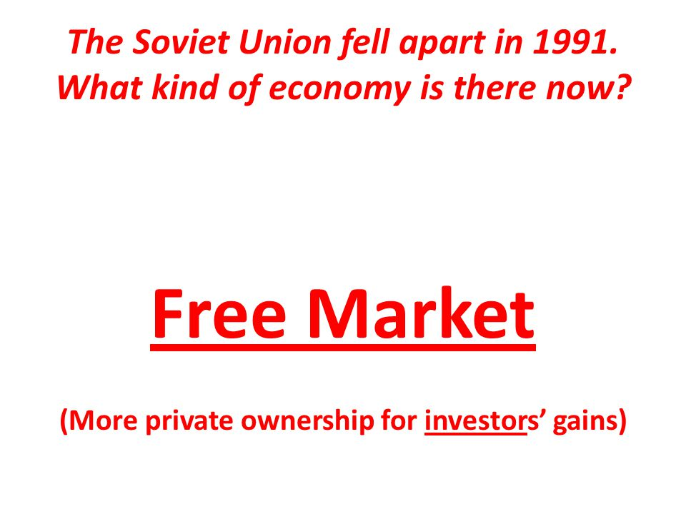 The Soviet Union fell apart in 1991. What kind of economy is there now.