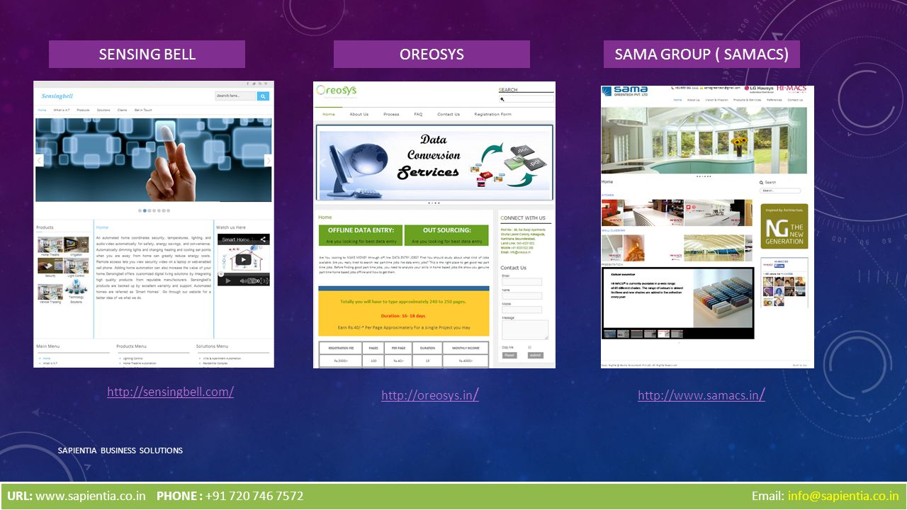 SAPIENTIA BUSINESS SOLUTIONS http://sensingbell.com/ SENSING BELL http://oreosys.in / http://www.samacs.in / Email: info@sapientia.co.in OREOSYSSAMA GROUP ( SAMACS) URL: www.sapientia.co.inPHONE : +91 720 746 7572