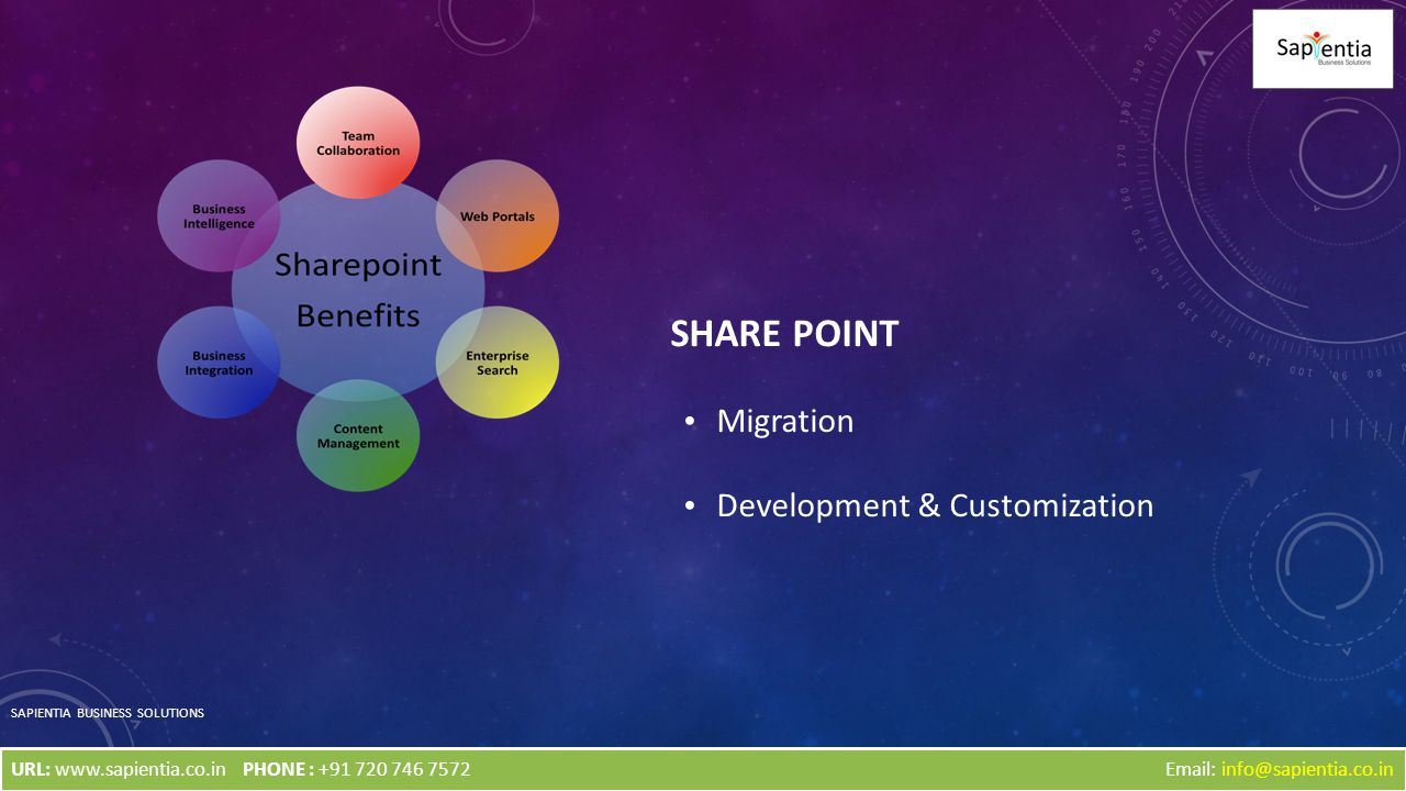 SHARE POINT Migration Development & Customization SAPIENTIA BUSINESS SOLUTIONS Email: info@sapientia.co.inURL: www.sapientia.co.inPHONE : +91 720 746