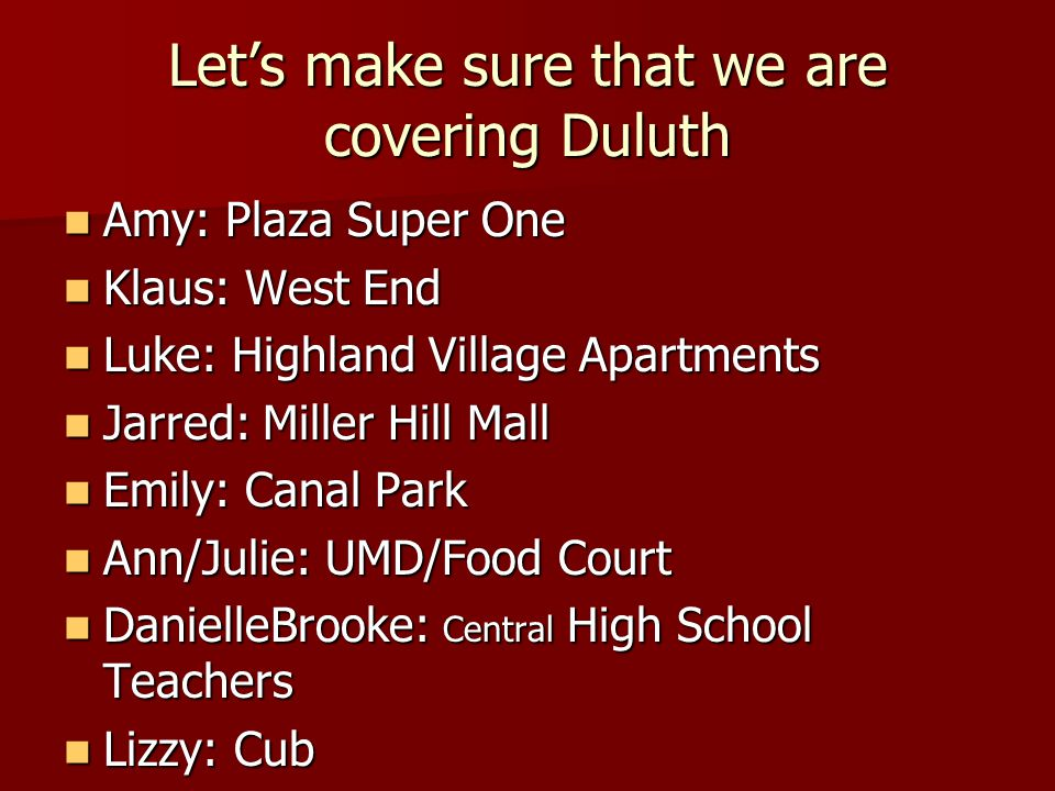 Lets make sure that we are covering Duluth Amy: Plaza Super One Amy: Plaza Super One Klaus: West End Klaus: West End Luke: Highland Village Apartments Luke: Highland Village Apartments Jarred: Miller Hill Mall Jarred: Miller Hill Mall Emily: Canal Park Emily: Canal Park Ann/Julie: UMD/Food Court Ann/Julie: UMD/Food Court DanielleBrooke: Central High School Teachers DanielleBrooke: Central High School Teachers Lizzy: Cub Lizzy: Cub Annelyse: WalMart Annelyse: WalMart