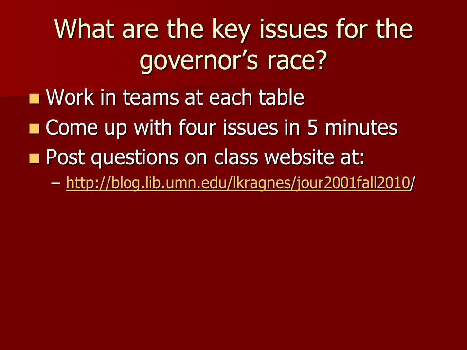 What are the key issues for the governors race.