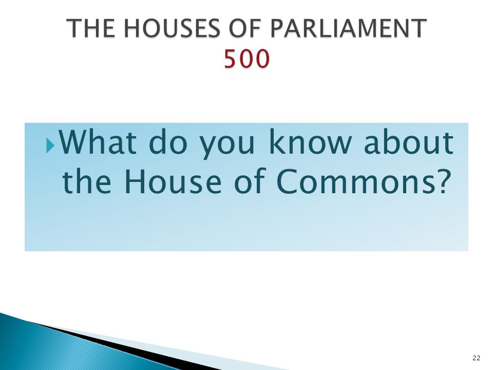 What do you know about the House of Commons? 22
