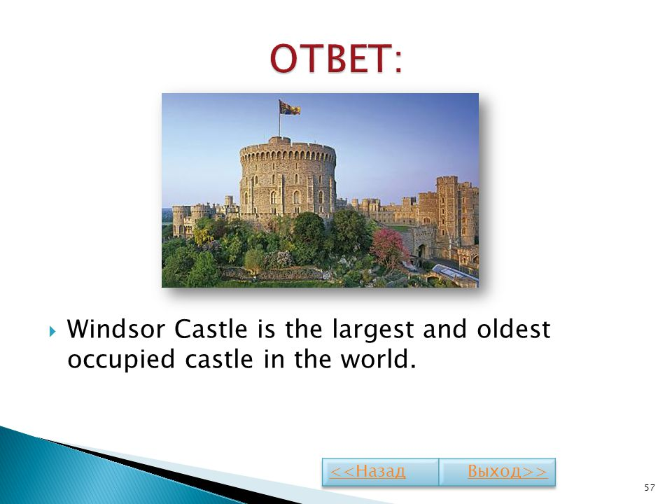 Windsor Castle is the largest and oldest occupied castle in the world. 57