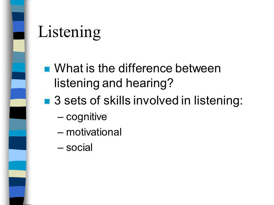 Listening n What is the difference between listening and hearing? n 3 sets of skills involved in listening: –cognitive –motivational –social