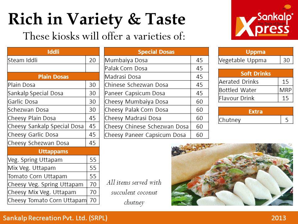 Rich in Variety & Taste These kiosks will offer a varieties of: Sankalp Recreation Pvt. Ltd. (SRPL)2013 Iddli Steam Iddli20 Plain Dosas Plain Dosa30 S