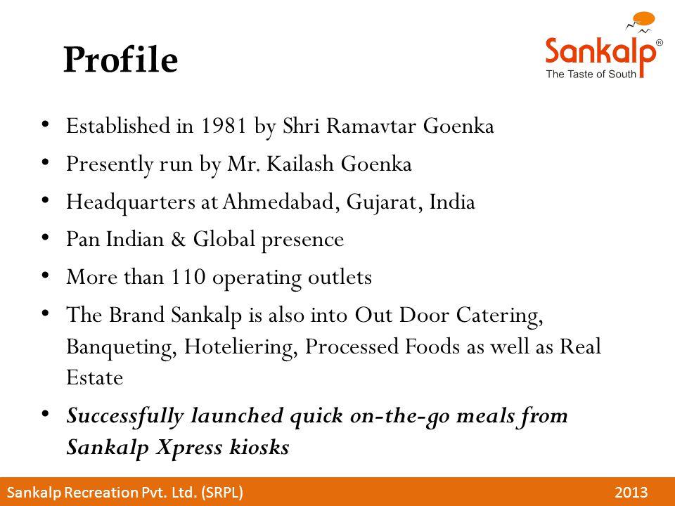 Profile Established in 1981 by Shri Ramavtar Goenka Presently run by Mr. Kailash Goenka Headquarters at Ahmedabad, Gujarat, India Pan Indian & Global