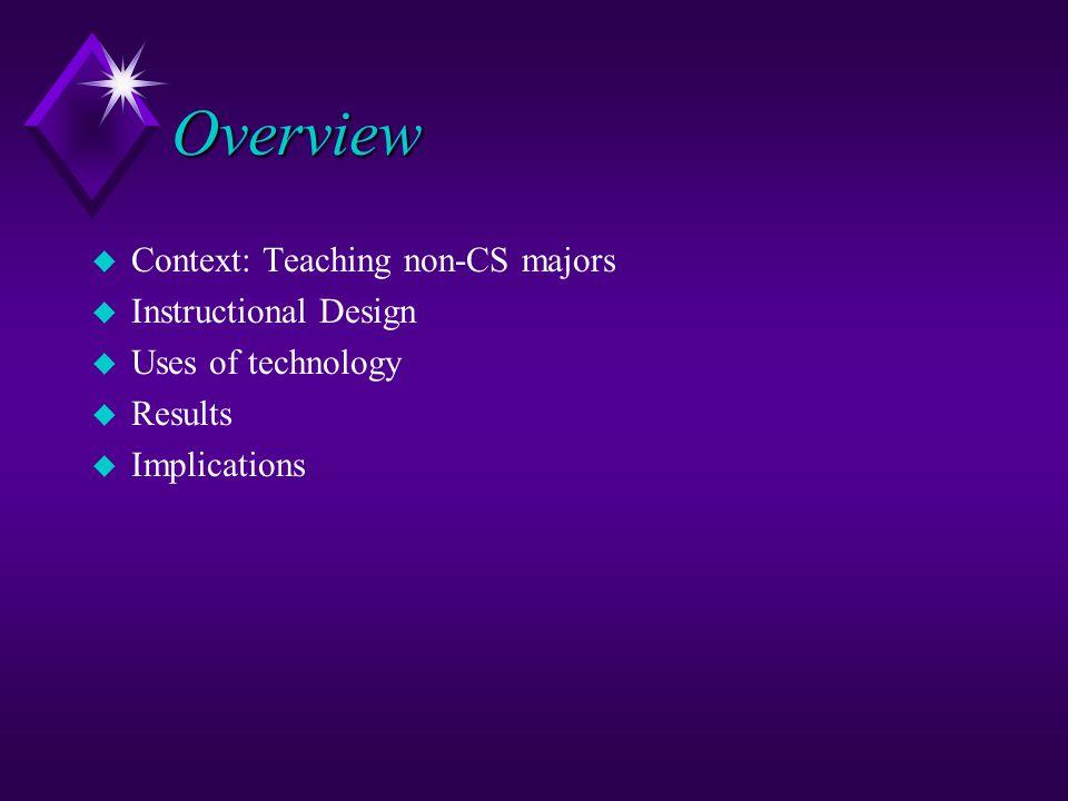 Overview u Context: Teaching non-CS majors u Instructional Design u Uses of technology u Results u Implications