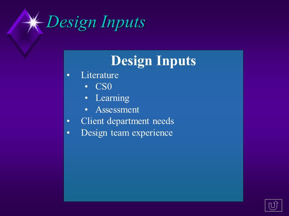 Design Inputs Literature CS0 Learning Assessment Client department needs Design team experience Design Inputs