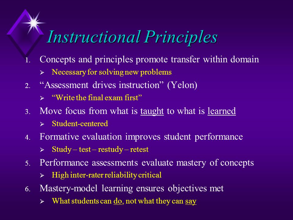 Instructional Principles 1. Concepts and principles promote transfer within domain Necessary for solving new problems 2. Assessment drives instruction