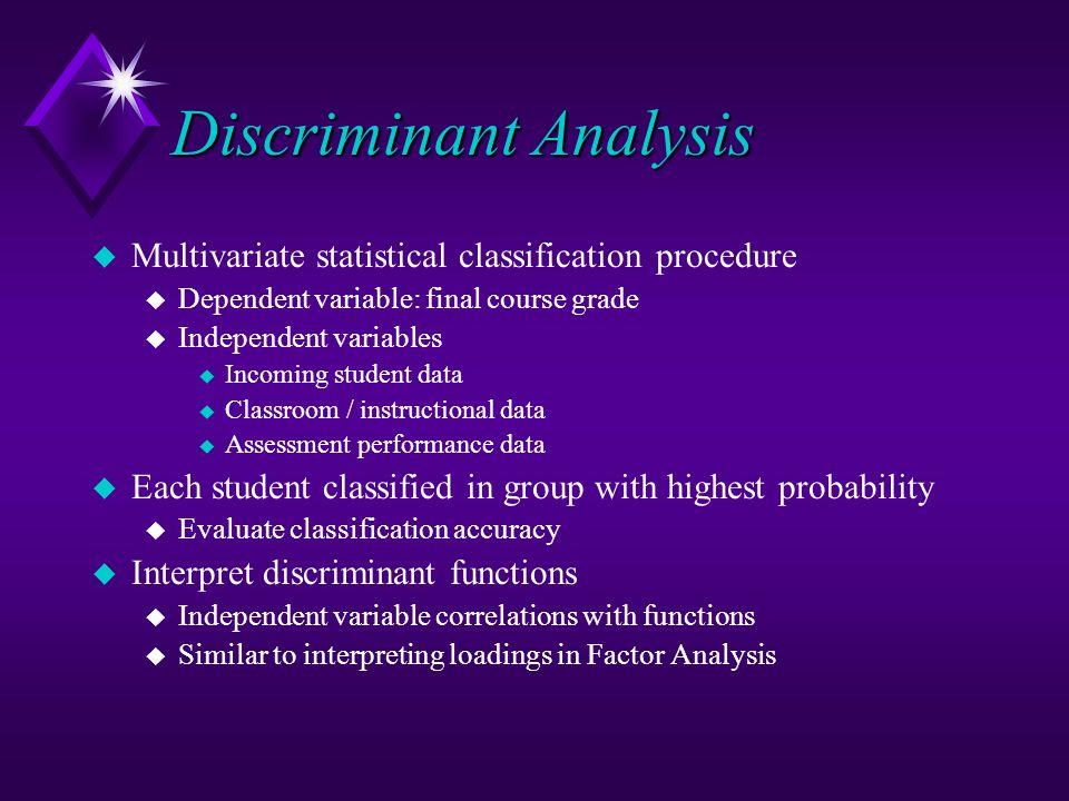 Discriminant Analysis u Multivariate statistical classification procedure u Dependent variable: final course grade u Independent variables u Incoming