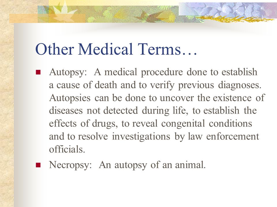 Other Medical Terms… Autopsy: A medical procedure done to establish a cause of death and to verify previous diagnoses. Autopsies can be done to uncove