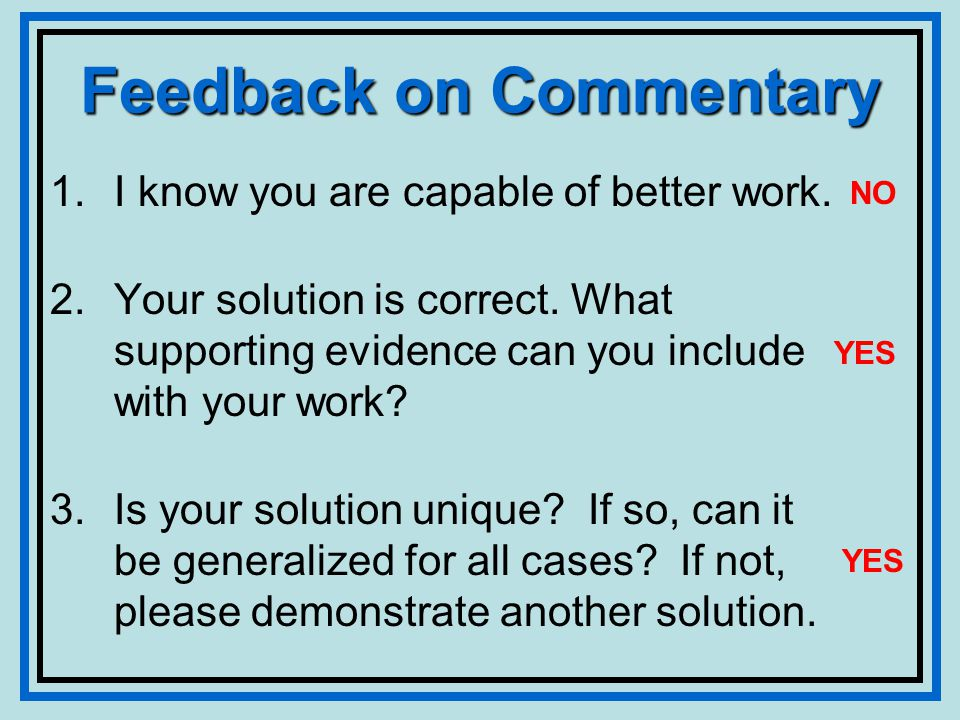 Feedback on Commentary 1.I know you are capable of better work.