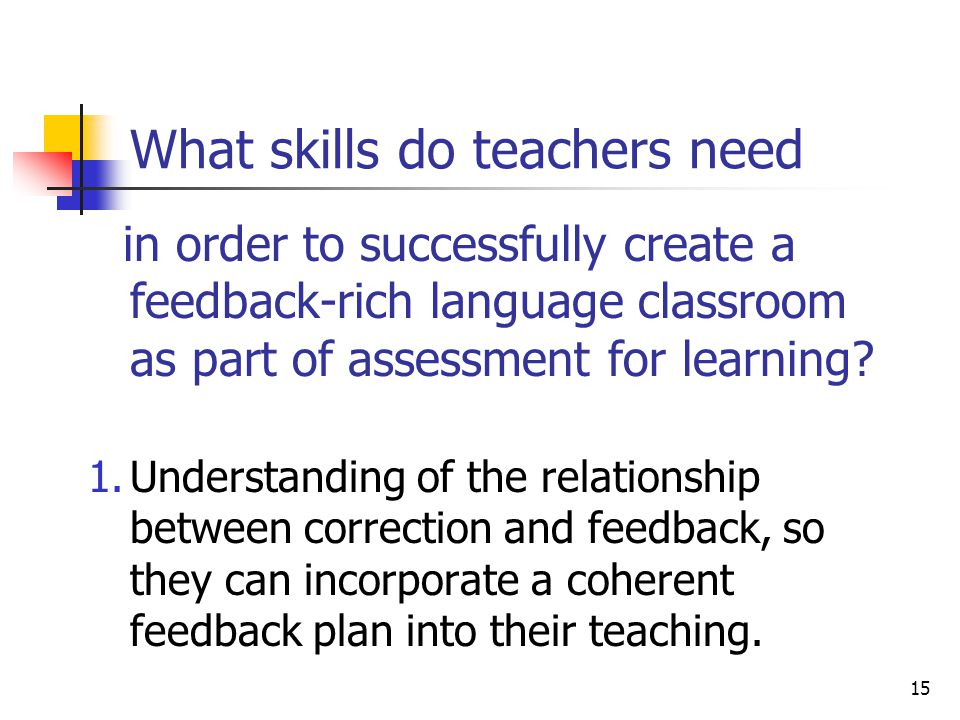 15 What skills do teachers need in order to successfully create a feedback-rich language classroom as part of assessment for learning? 1.Understanding