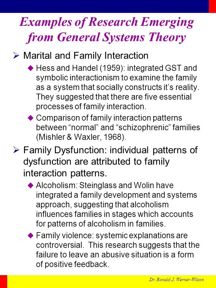 Dr. Ronald J. Werner-Wilson Examples of Research Emerging from General Systems Theory Marital and Family Interaction Hess and Handel (1959): integrate