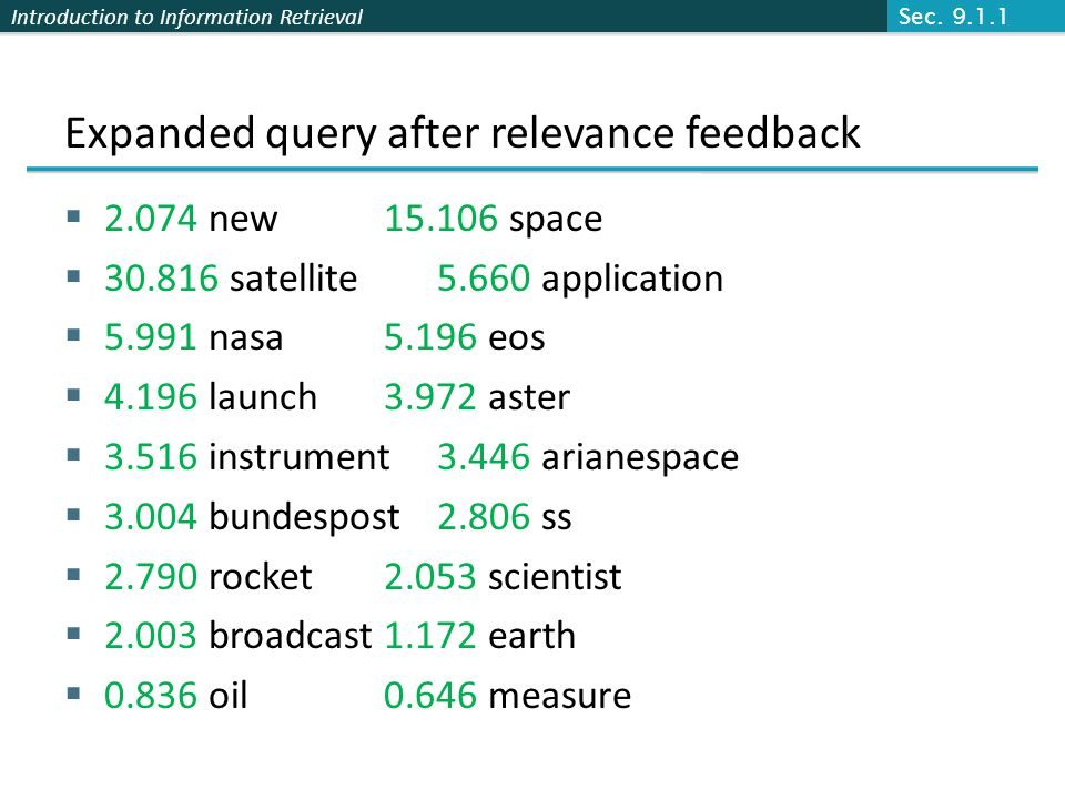 Introduction to Information Retrieval Expanded query after relevance feedback 2.074 new 15.106 space 30.816 satellite 5.660 application 5.991 nasa 5.196 eos 4.196 launch 3.972 aster 3.516 instrument 3.446 arianespace 3.004 bundespost 2.806 ss 2.790 rocket 2.053 scientist 2.003 broadcast 1.172 earth 0.836 oil 0.646 measure Sec.