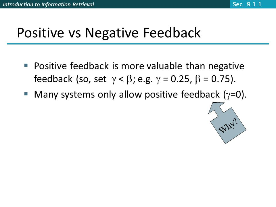 Introduction to Information Retrieval Positive vs Negative Feedback Positive feedback is more valuable than negative feedback (so, set < ; e.g.