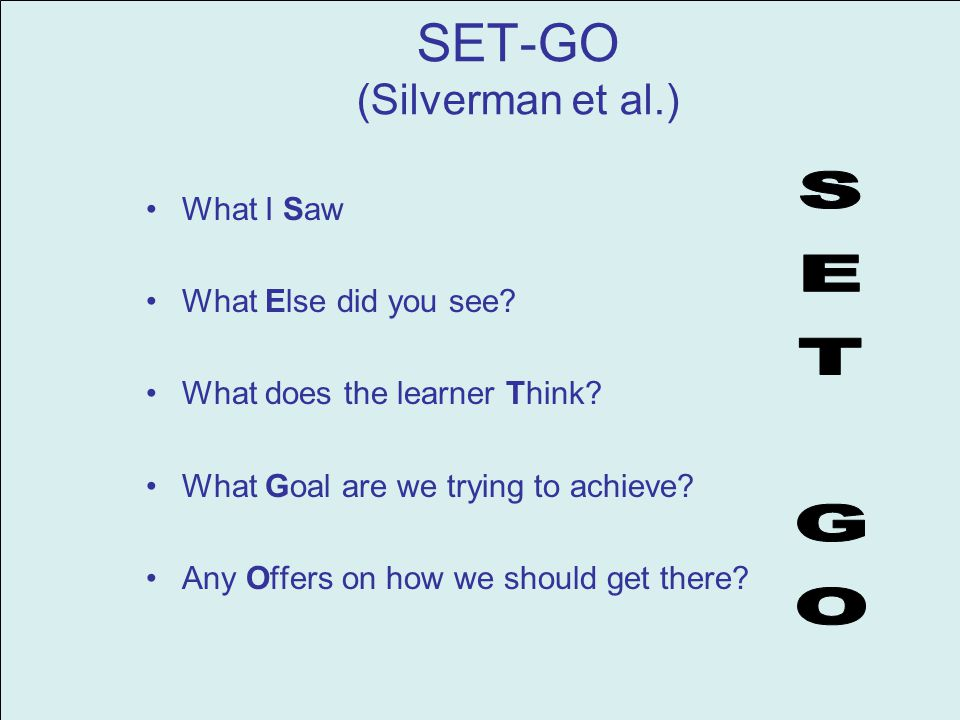 SET-GO (Silverman et al.) What I Saw What Else did you see.