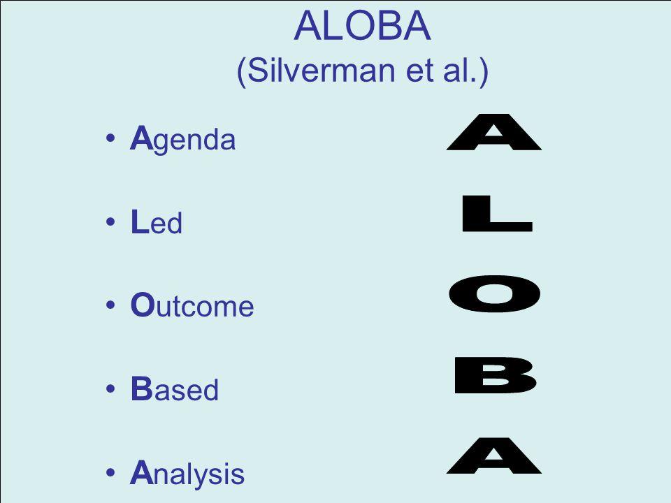 ALOBA (Silverman et al.) A genda L ed O utcome B ased A nalysis