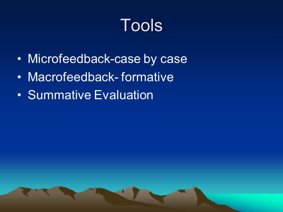 Tools Microfeedback-case by case Macrofeedback- formative Summative Evaluation
