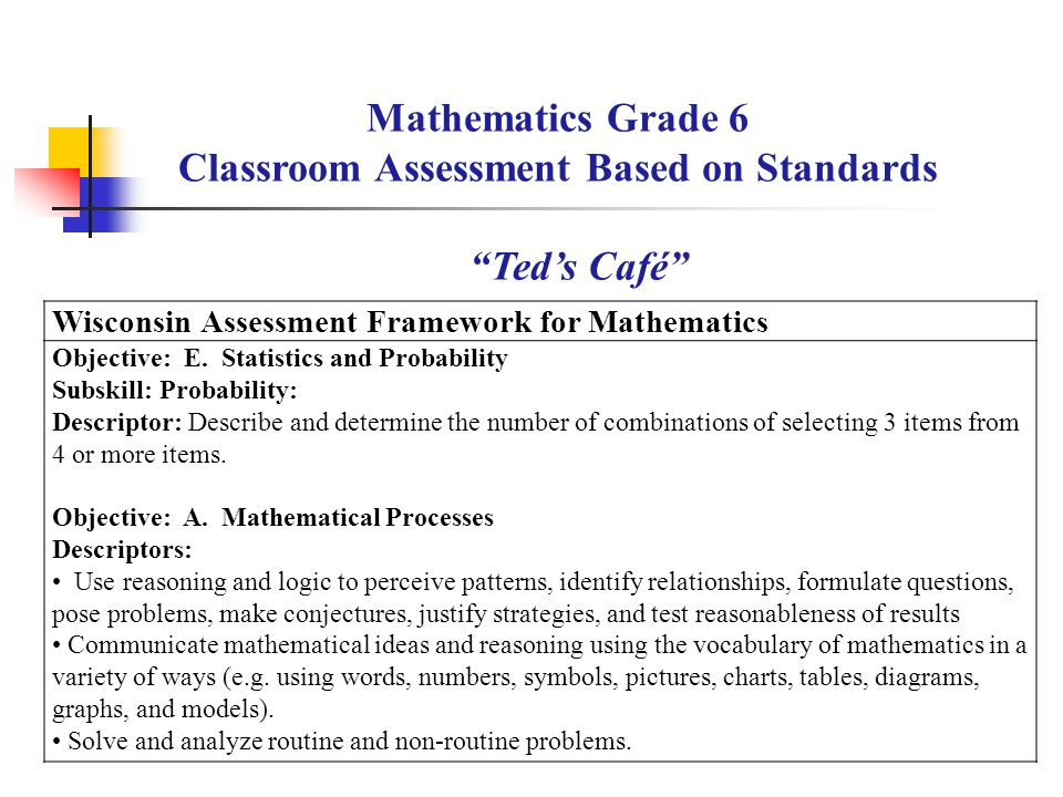 Wisconsin Assessment Framework for Mathematics Objective: E.