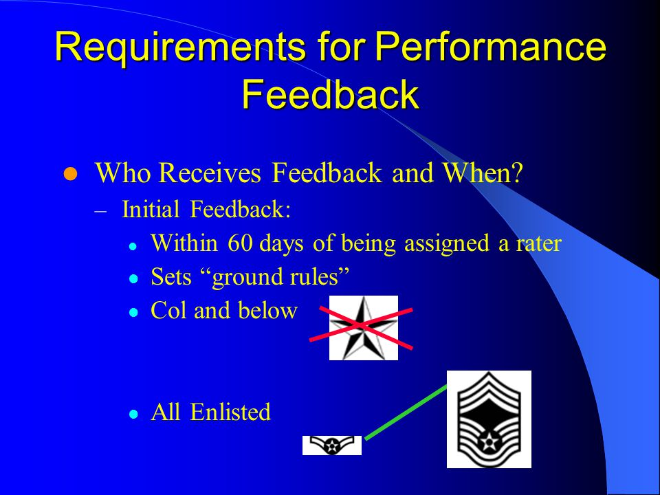 Requirements for Performance Feedback Who Receives Feedback and When? – Initial Feedback: Within 60 days of being assigned a rater Sets ground rules C