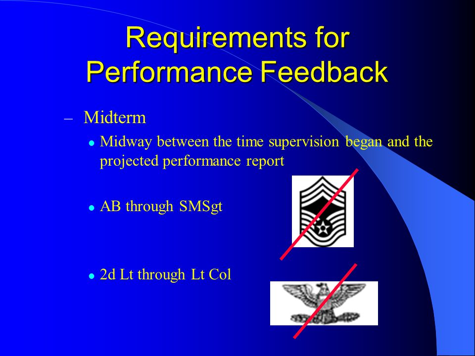 – Midterm Midway between the time supervision began and the projected performance report AB through SMSgt 2d Lt through Lt Col Requirements for Performance Feedback