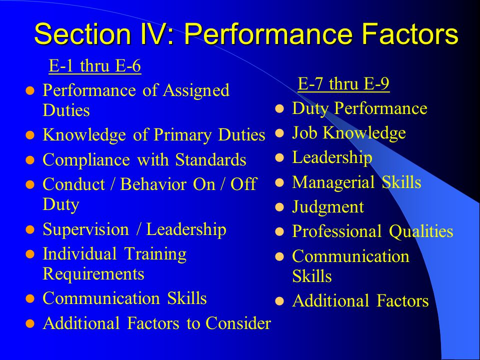 Section IV: Performance Factors E-1 thru E-6 Performance of Assigned Duties Knowledge of Primary Duties Compliance with Standards Conduct / Behavior O
