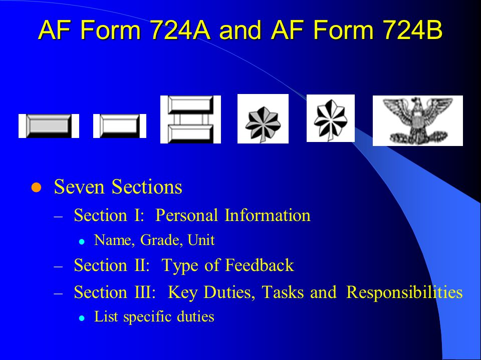 AF Form 724A and AF Form 724B Seven Sections – Section I: Personal Information Name, Grade, Unit – Section II: Type of Feedback – Section III: Key Duties, Tasks and Responsibilities List specific duties