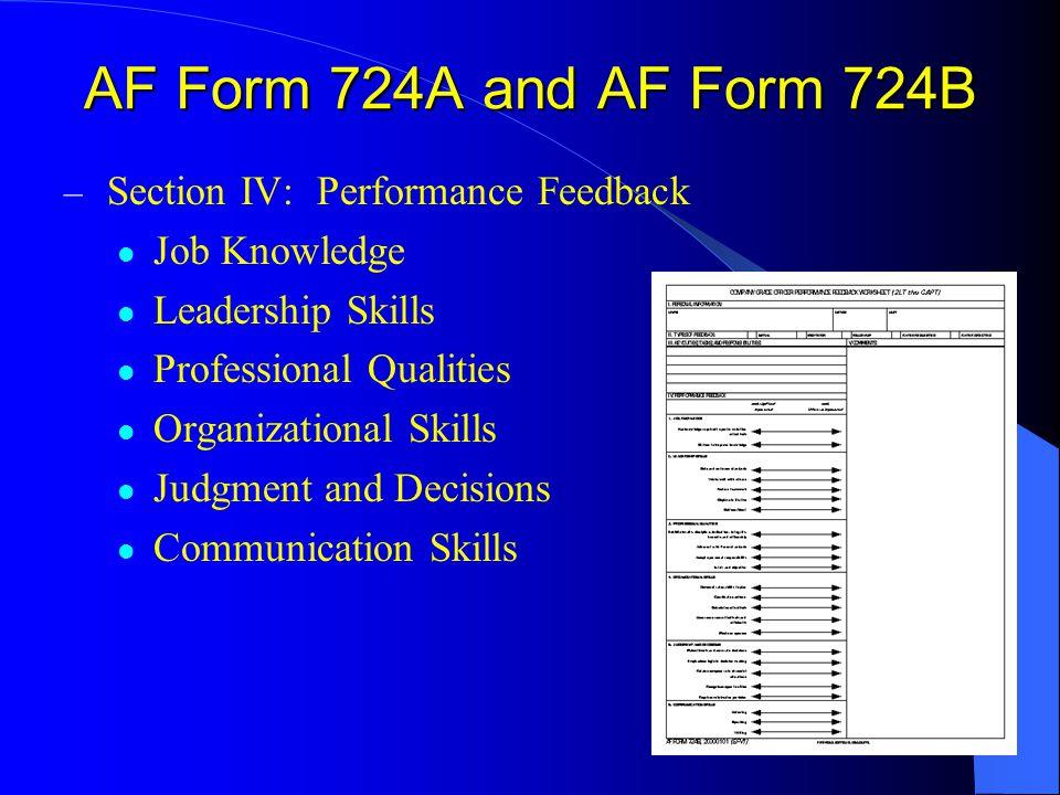 – Section IV: Performance Feedback Job Knowledge Leadership Skills Professional Qualities Organizational Skills Judgment and Decisions Communication S