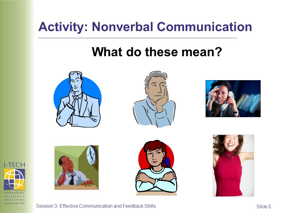 Slide 5 Session 3: Effective Communication and Feedback Skills Activity: Nonverbal Communication What do these mean?