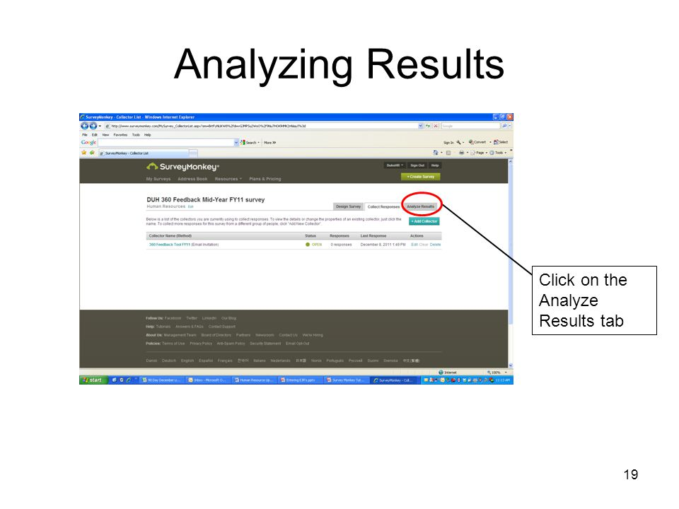 19 Analyzing Results Click on the Analyze Results tab