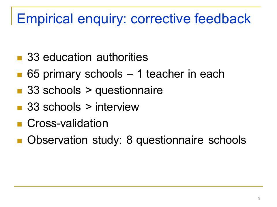 9 Empirical enquiry: corrective feedback 33 education authorities 65 primary schools – 1 teacher in each 33 schools > questionnaire 33 schools > inter