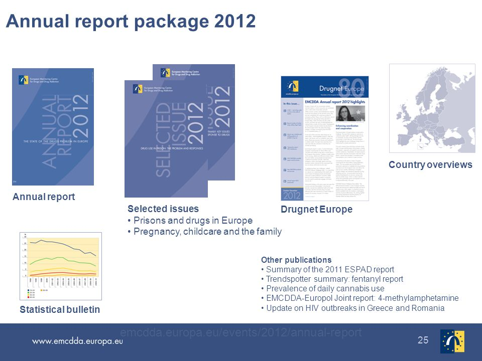 25 Annual report package 2012 emcdda.europa.eu/events/2012/annual-report Publications Selected issues Prisons and drugs in Europe Pregnancy, childcare and the family Annual report Drugnet Europe Country overviews Statistical bulletin Other publications Summary of the 2011 ESPAD report Trendspotter summary: fentanyl report Prevalence of daily cannabis use EMCDDA-Europol Joint report: 4-methylamphetamine Update on HIV outbreaks in Greece and Romania